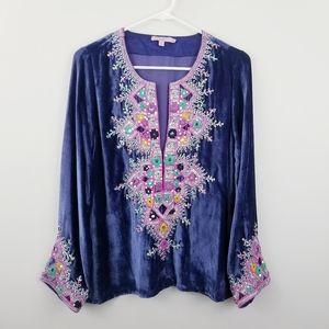 Calypso St. Barth | Purple Velvet Embellished Top